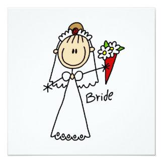 """Figura camisetas y regalos del palillo de la novia invitación 5.25"""" x 5.25"""""""