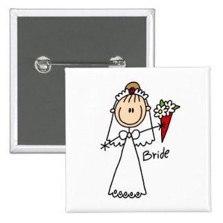 Figura camisetas y regalos del palillo de la novia pin cuadrada 5 cm