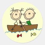 Figura camisetas y regalos del palillo de la pesca pegatina redonda