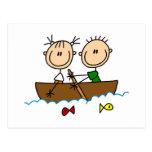 Figura camisetas y regalos del palillo de la pesca tarjeta postal