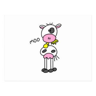 Figura camisetas y regalos del palillo de la vaca tarjeta postal