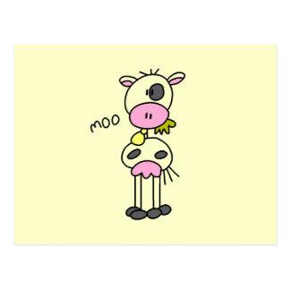 Figura camisetas y regalos del palillo de la vaca tarjetas postales