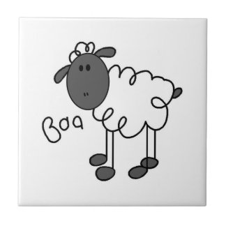 Figura camisetas y regalos del palillo de las ovej azulejo cuadrado pequeño