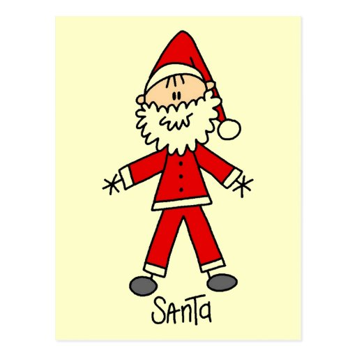 Figura camisetas y regalos del palillo de Santa Tarjeta Postal