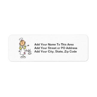 Figura camisetas y regalos del palillo del ángel etiqueta de remite