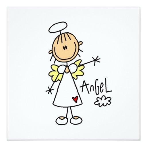 Figura camisetas y regalos del palillo del ángel invitación 13,3 cm x 13,3cm