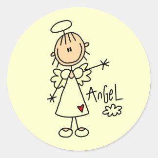 Figura camisetas y regalos del palillo del ángel pegatina redonda