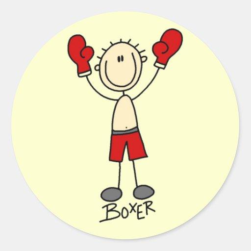 Figura camisetas y regalos del palillo del boxeo pegatina redonda