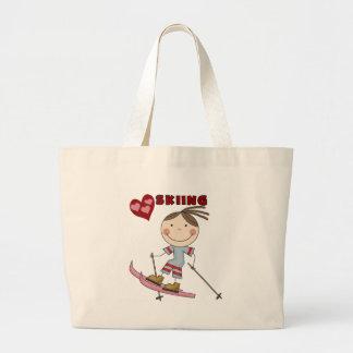 Figura camisetas y regalos del palillo del esquiad bolsa de mano