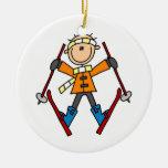 Figura camisetas y regalos del palillo del esquiad ornamento de navidad