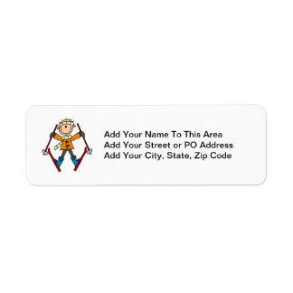 Figura camisetas y regalos del palillo del esquiad etiqueta de remite