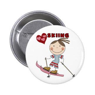 Figura camisetas y regalos del palillo del esquiad pin redondo de 2 pulgadas