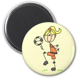 Figura camisetas y regalos del palillo del fútbol imán redondo 5 cm