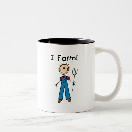 Figura camisetas y regalos del palillo del granjer taza dos tonos
