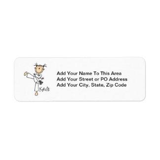 Figura camisetas y regalos del palillo del karate etiqueta de remitente