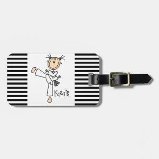 Figura camisetas y regalos del palillo del karate etiqueta de equipaje