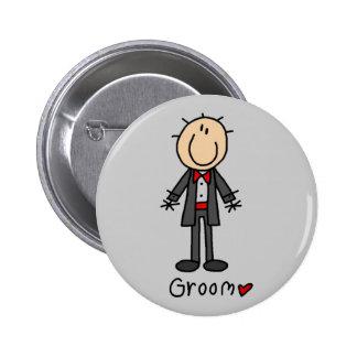 Figura camisetas y regalos del palillo del novio pin redondo 5 cm