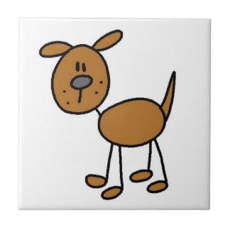 Figura camisetas y regalos del palillo del perro azulejo cuadrado pequeño