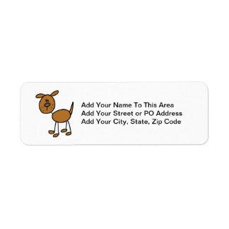 Figura camisetas y regalos del palillo del perro etiqueta de remitente
