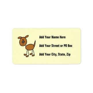Figura camisetas y regalos del palillo del perro etiquetas de dirección