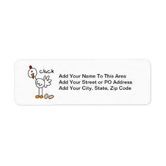 Figura camisetas y regalos del palillo del pollo etiqueta de remite