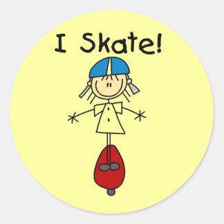 Figura camisetas y regalos del palillo del skater pegatina redonda