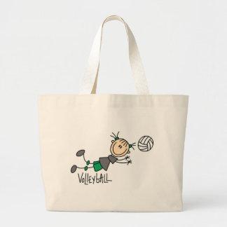 Figura camisetas y regalos del palillo del voleibo bolsa tela grande