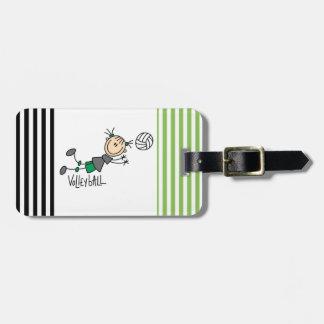 Figura camisetas y regalos del palillo del voleibo etiqueta para equipaje