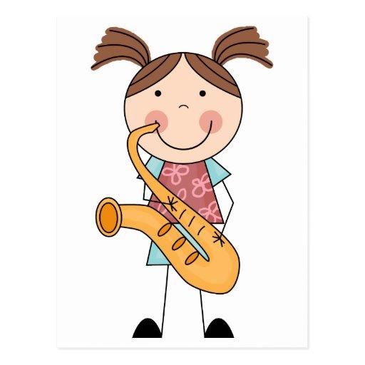 Figura chica del palillo con el saxofón tarjeta postal