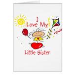 Figura chica del palillo de la pequeña hermana del tarjetas
