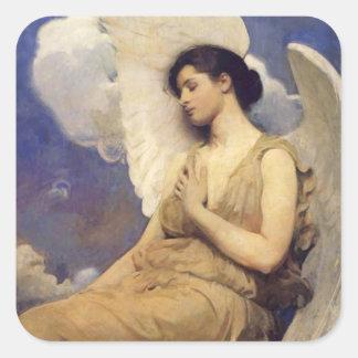 Figura coa alas ángel del vintage colcomanias cuadradas