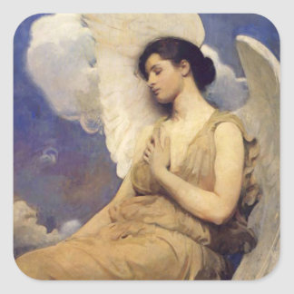 Figura coa alas ángel del vintage pegatina cuadrada