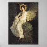 Figura coa alas asentada sobre una roca por Abbott Poster