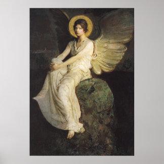 Figura coa alas asentada sobre una roca por Abbott Póster