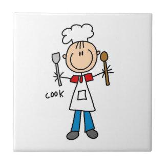 Figura cocinero del palillo azulejo cuadrado pequeño