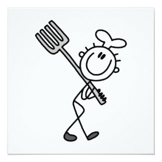 """Figura cocinero del palillo con la bifurcación invitación 5.25"""" x 5.25"""""""