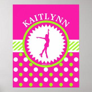 Figura con monograma rosa del patinador - lunares póster