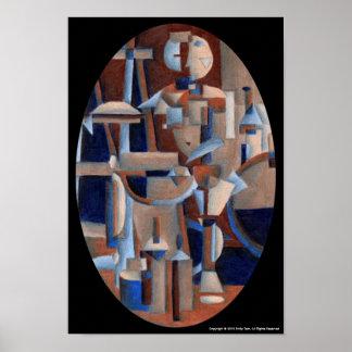 Figura cubista representación póster