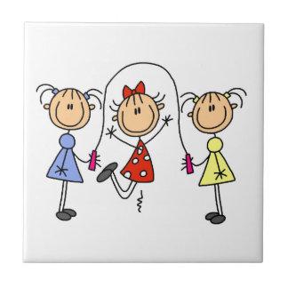 Figura cuerda del palillo de salto de los chicas azulejo cuadrado pequeño