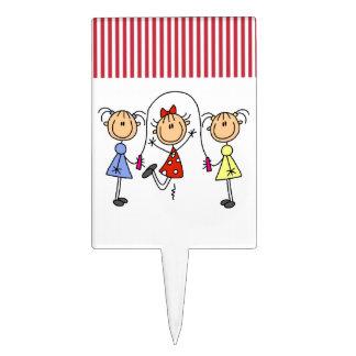 Figura cuerda del palillo de salto de los chicas figura para tarta