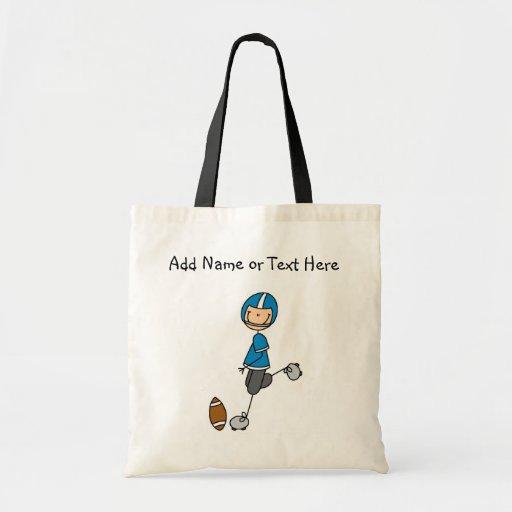 Figura de encargo bolso azul del palillo del futbo bolsa lienzo