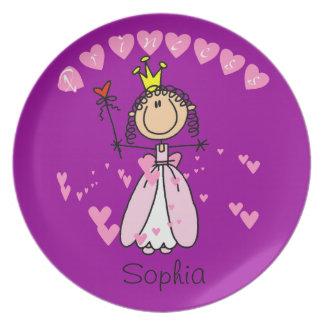 Figura de encargo princesa Kids Plate del palillo Platos De Comidas