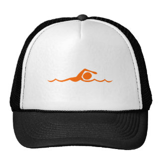 Figura de la natación - naranja gorros bordados