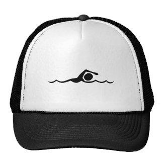 Figura de la natación - negro gorro de camionero