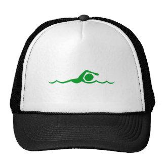 Figura de la natación - verde de hierba gorra
