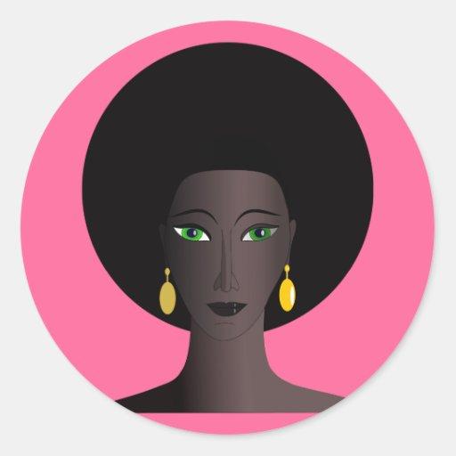 Figura de ojos verdes del dibujo animado de la etiquetas redondas