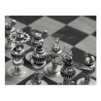 Figura de plata pedazos del ajedrez de Steampunk Postales