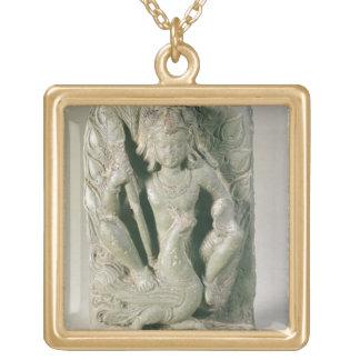 Figura de Skanda con su pavo real, colinas de Punj Colgante Cuadrado