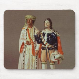 Figura de Staffordshire de Othello y de Iago, c.18 Tapete De Raton