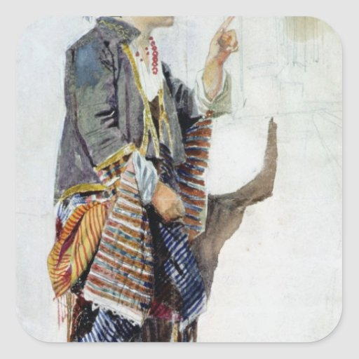 Figura de un chica en traje turco, siglo XIX Pegatina Cuadradas Personalizada